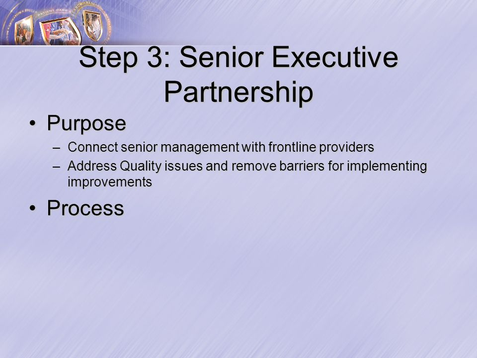 Step 3: Senior Executive Partnership PurposePurpose –Connect senior management with frontline providers –Address Quality issues and remove barriers for implementing improvements ProcessProcess