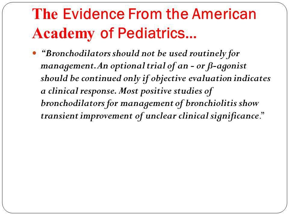 The Evidence From the American Academy of Pediatrics… Bronchodilators should not be used routinely for management.