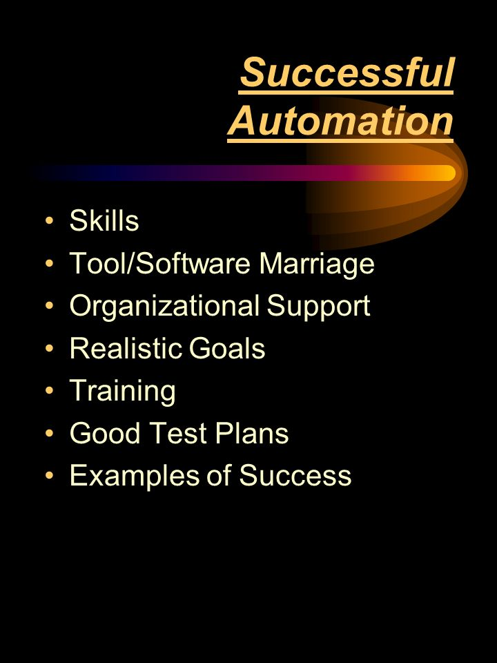 Successful Automation Skills Tool/Software Marriage Organizational Support Realistic Goals Training Good Test Plans Examples of Success