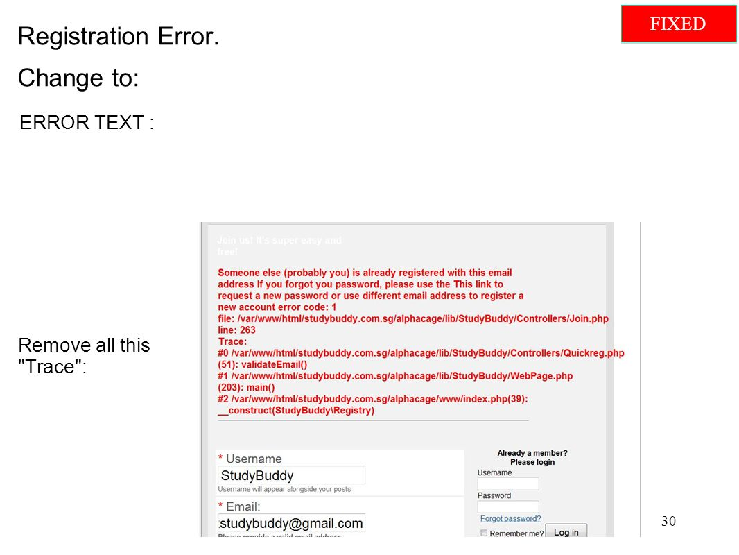 Registration Error. Change to: Remove all this Trace : ERROR TEXT : 30 FIXED