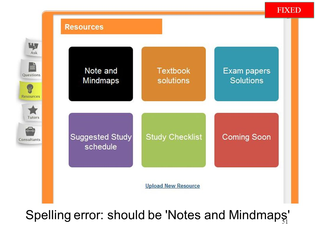 Spelling error: should be Notes and Mindmaps 51 FIXED