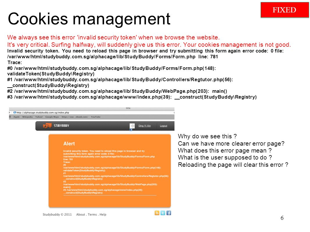 Cookies management We always see this error invalid security token when we browse the website.