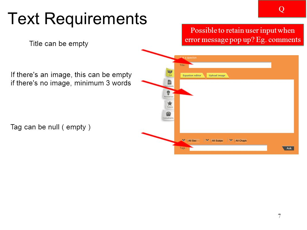 Text Requirements Title can be empty If there s an image, this can be empty if there s no image, minimum 3 words Tag can be null ( empty ) 7 Q Q Possible to retain user input when error message pop up.