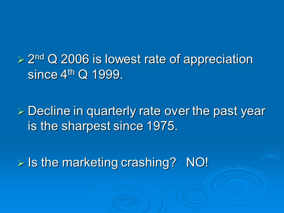 2 nd Q 2006 is lowest rate of appreciation since 4 th Q 1999.
