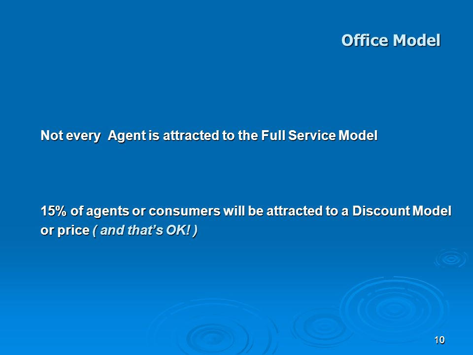1010 Not every Agent is attracted to the Full Service Model 15% of agents or consumers will be attracted to a Discount Model or price ( and thats OK.