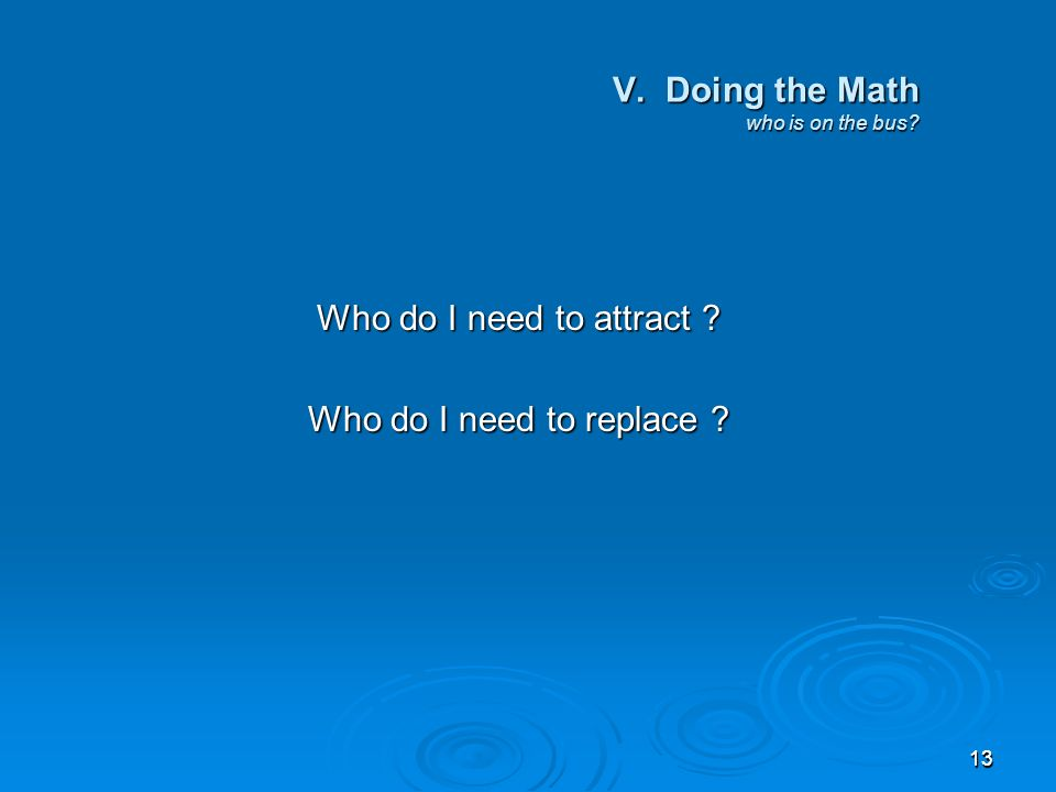 1313 V. Doing the Math who is on the bus Who do I need to attract Who do I need to replace