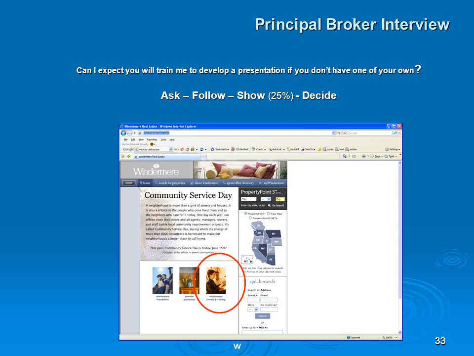 3333 Principal Broker Interview Can I expect you will train me to develop a presentation if you dont have one of your own .