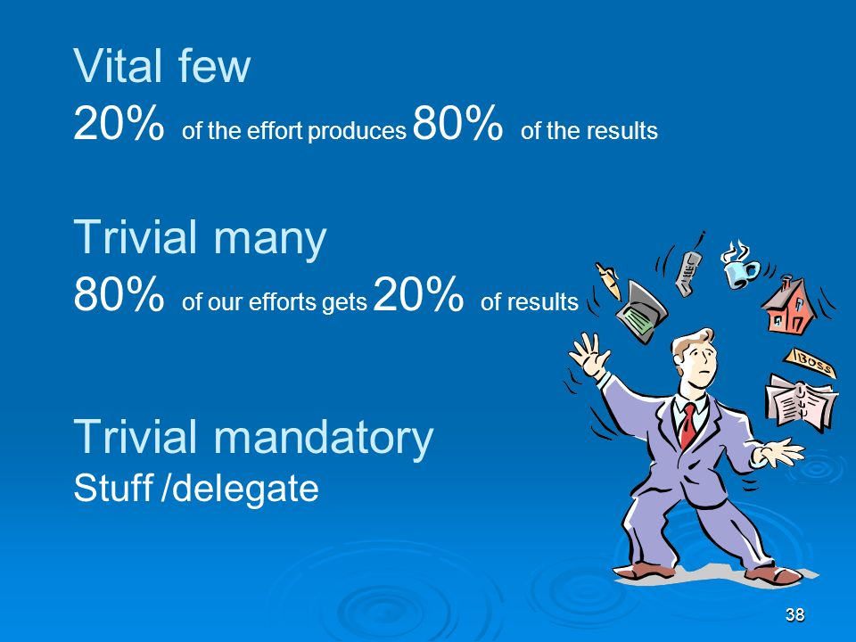 38 Vital few 20% of the effort produces 80% of the results Trivial many 80% of our efforts gets 20% of results Trivial mandatory Stuff /delegate