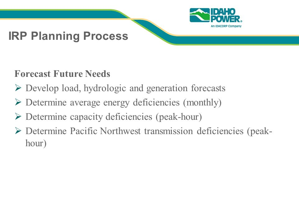 IRP Planning Process Forecast Future Needs Develop load, hydrologic and generation forecasts Determine average energy deficiencies (monthly) Determine capacity deficiencies (peak-hour) Determine Pacific Northwest transmission deficiencies (peak- hour)