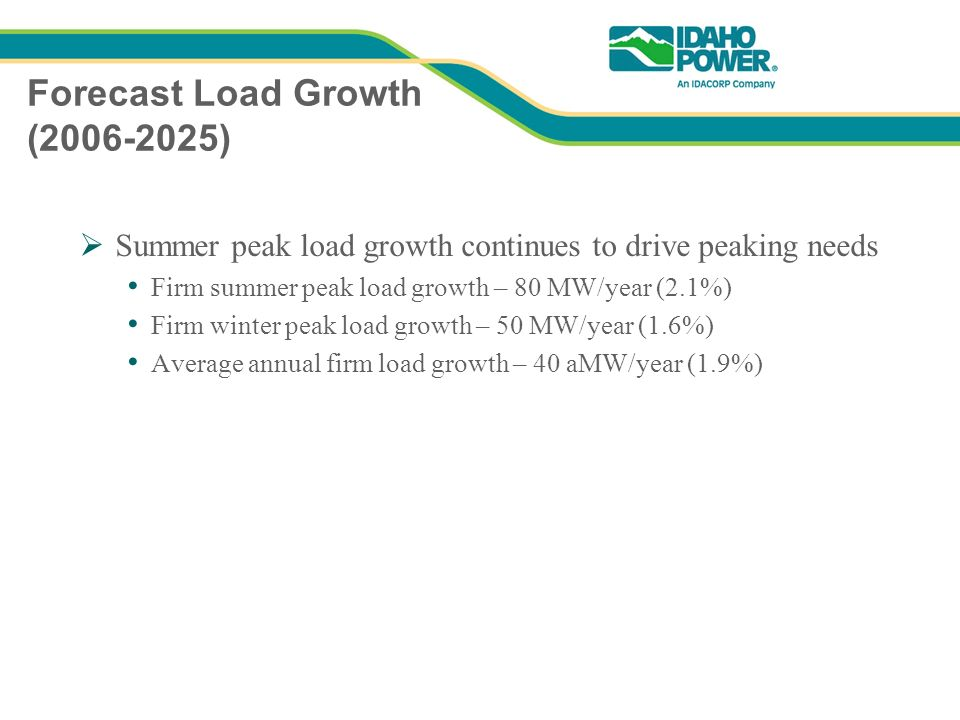 Forecast Load Growth ( ) Summer peak load growth continues to drive peaking needs Firm summer peak load growth – 80 MW/year (2.1%) Firm winter peak load growth – 50 MW/year (1.6%) Average annual firm load growth – 40 aMW/year (1.9%)