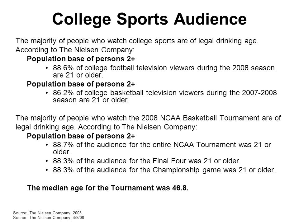 College Sports Audience The majority of people who watch college sports are of legal drinking age.