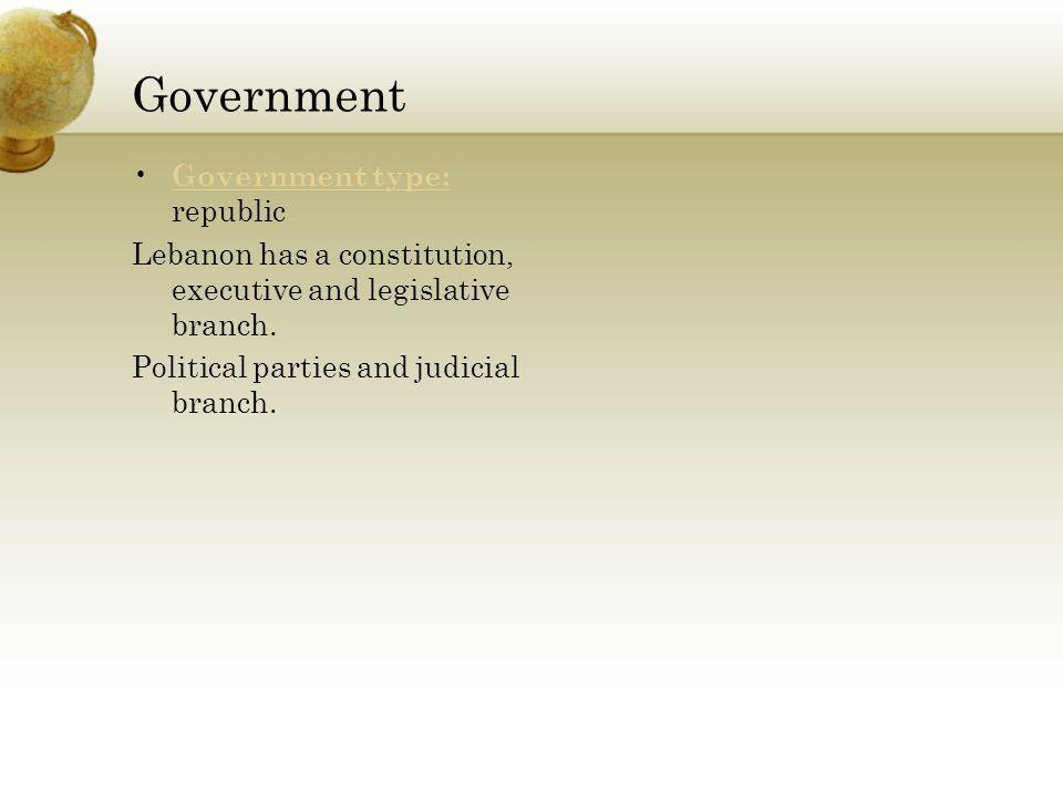 Government Government type: republic Government type: Lebanon has a constitution, executive and legislative branch.