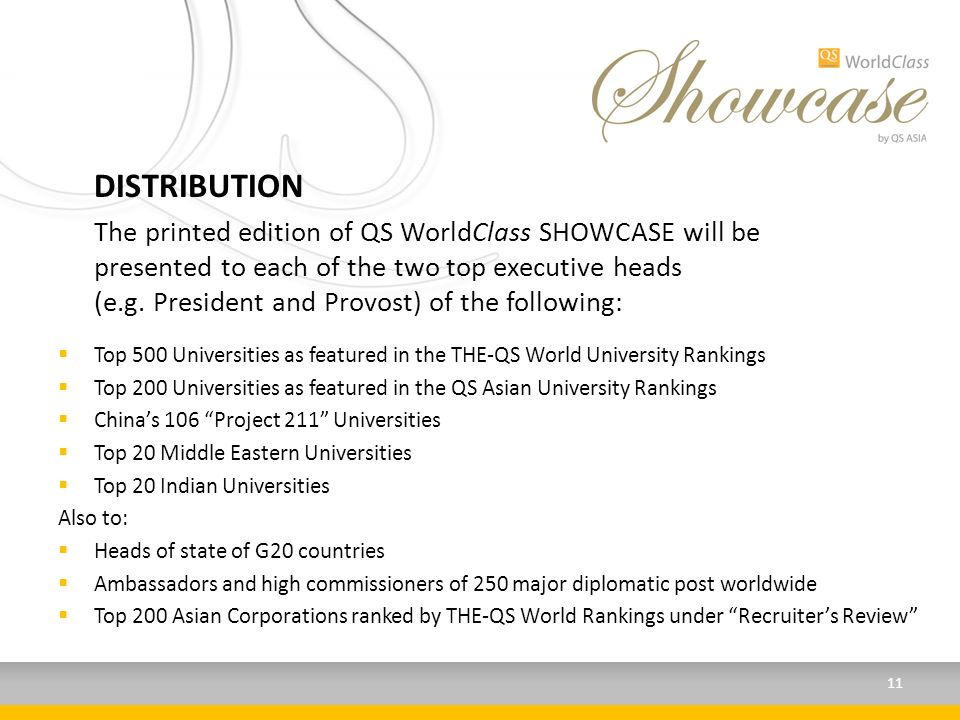 DISTRIBUTION The printed edition of QS WorldClass SHOWCASE will be presented to each of the two top executive heads (e.g.
