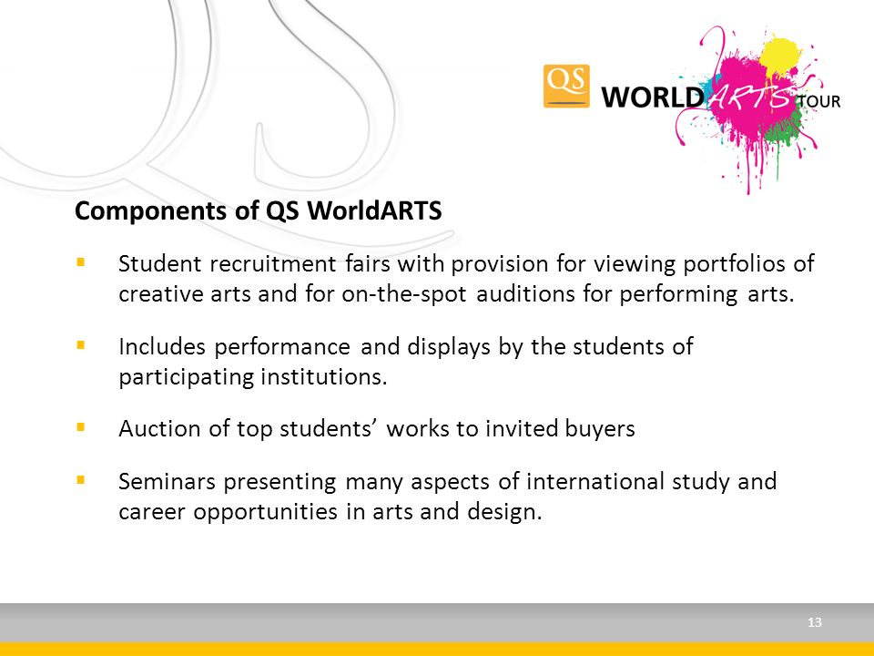Components of QS WorldARTS Student recruitment fairs with provision for viewing portfolios of creative arts and for on-the-spot auditions for performing arts.