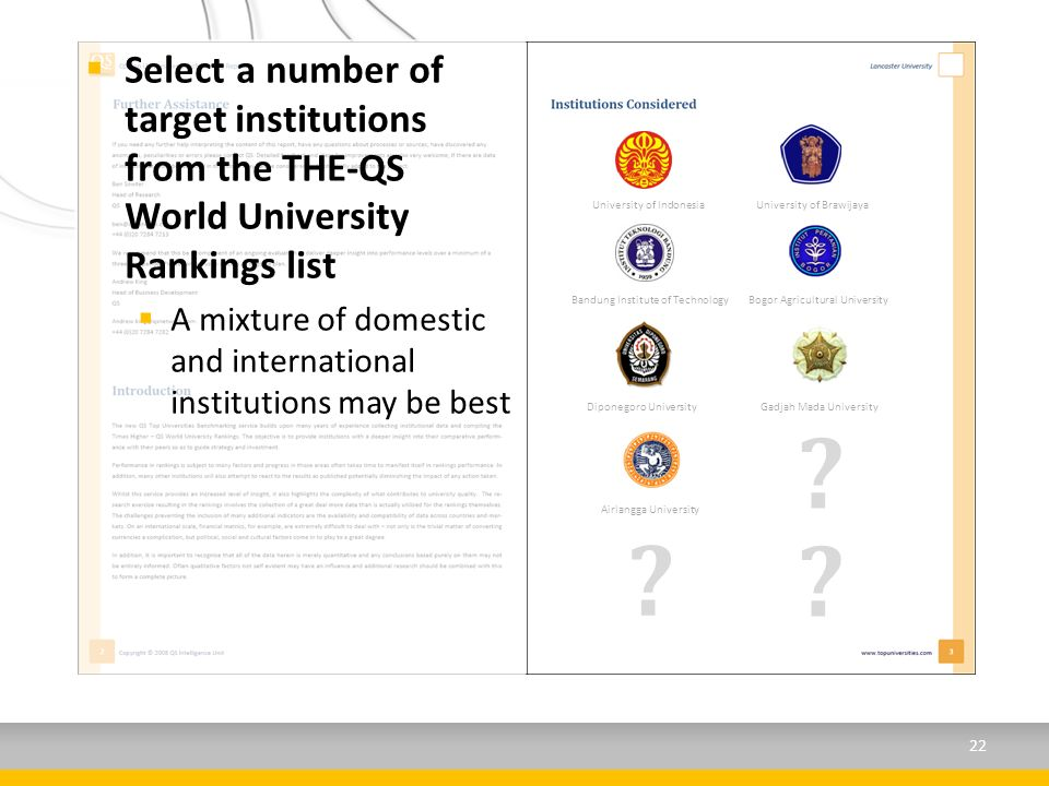 Select a number of target institutions from the THE-QS World University Rankings list A mixture of domestic and international institutions may be best University of IndonesiaUniversity of Brawijaya Bandung Institute of TechnologyBogor Agricultural University Diponegoro University Gadjah Mada University Airlangga University .
