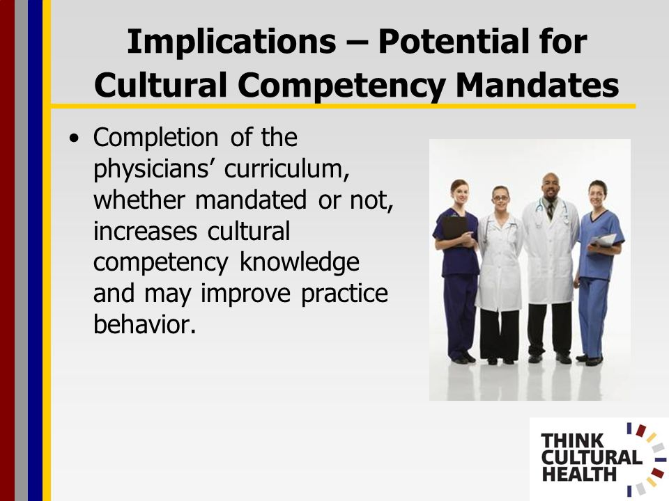 Implications – Potential for Cultural Competency Mandates Completion of the physicians curriculum, whether mandated or not, increases cultural competency knowledge and may improve practice behavior.
