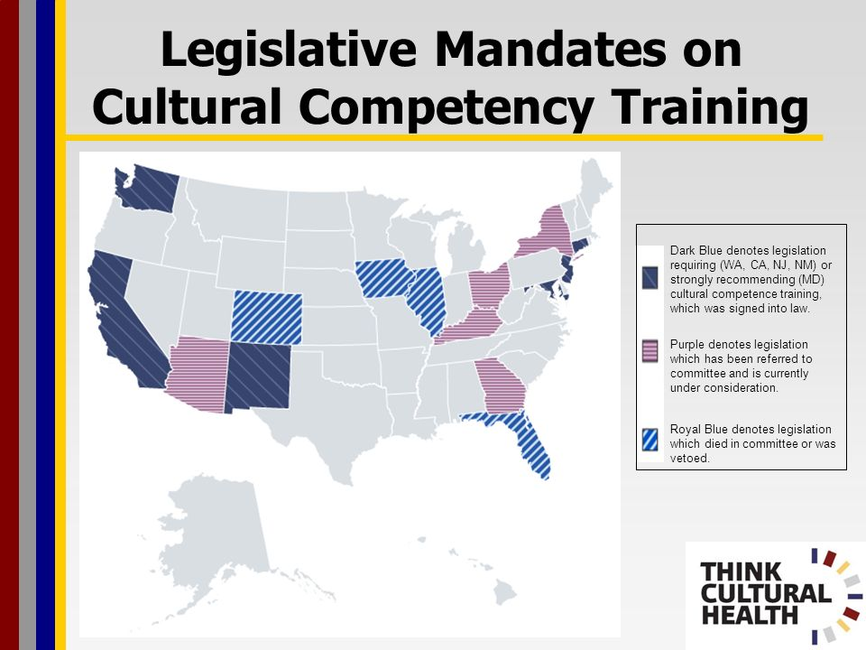 Legislative Mandates on Cultural Competency Training Dark Blue denotes legislation requiring (WA, CA, NJ, NM) or strongly recommending (MD) cultural competence training, which was signed into law.