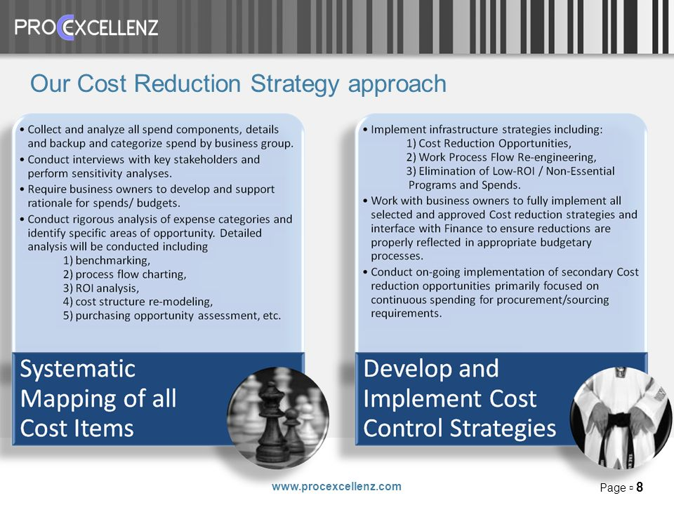 www.procexcellenz.com Page 8 Our Cost Reduction Strategy approach