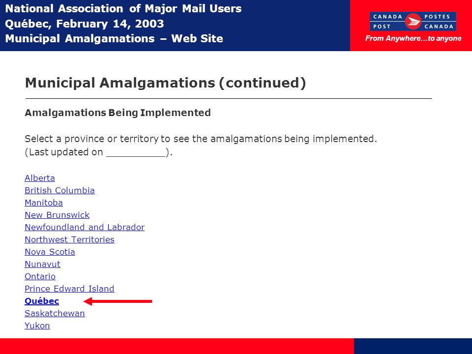 From Anywhere…to anyone National Association of Major Mail Users Québec, February 14, 2003 Municipal Amalgamations – Web Site Municipal Amalgamations (continued) Amalgamations Being Implemented Select a province or territory to see the amalgamations being implemented.
