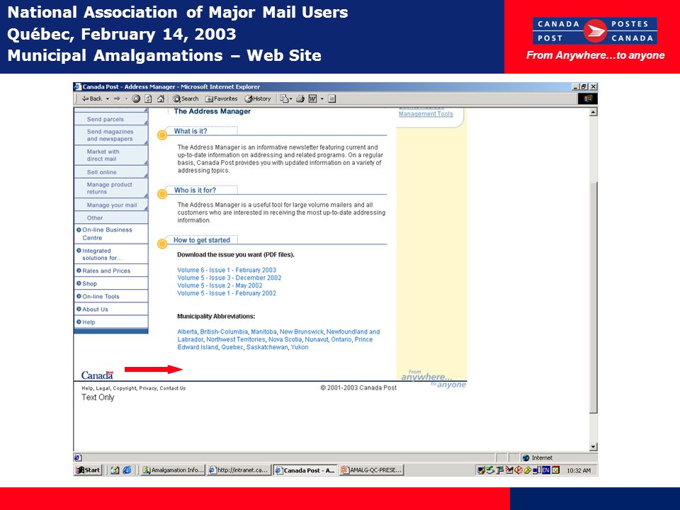 From Anywhere…to anyone National Association of Major Mail Users Québec, February 14, 2003 Municipal Amalgamations – Web Site