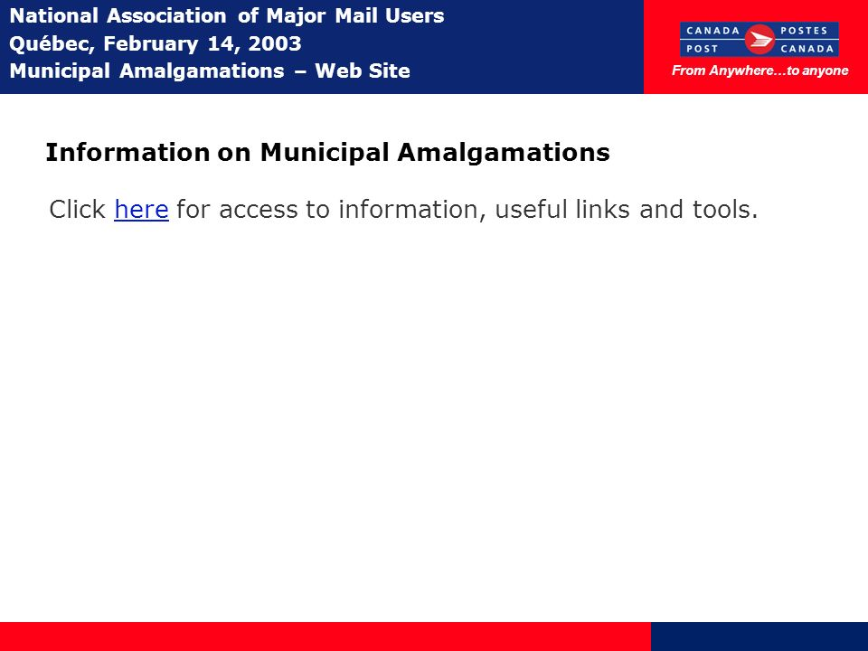 From Anywhere…to anyone National Association of Major Mail Users Québec, February 14, 2003 Municipal Amalgamations – Web Site Information on Municipal Amalgamations Click here for access to information, useful links and tools.
