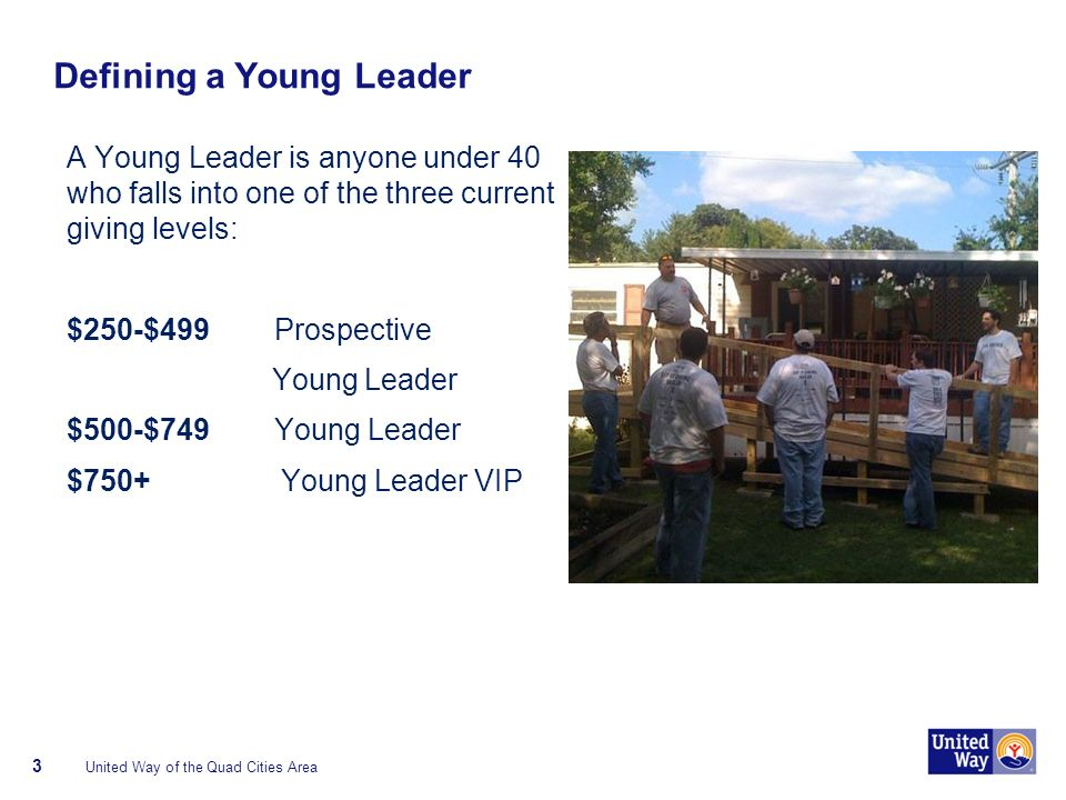 Defining a Young Leader A Young Leader is anyone under 40 who falls into one of the three current giving levels: $250-$499 Prospective Young Leader $500-$749 Young Leader $750+ Young Leader VIP United Way of the Quad Cities Area 3