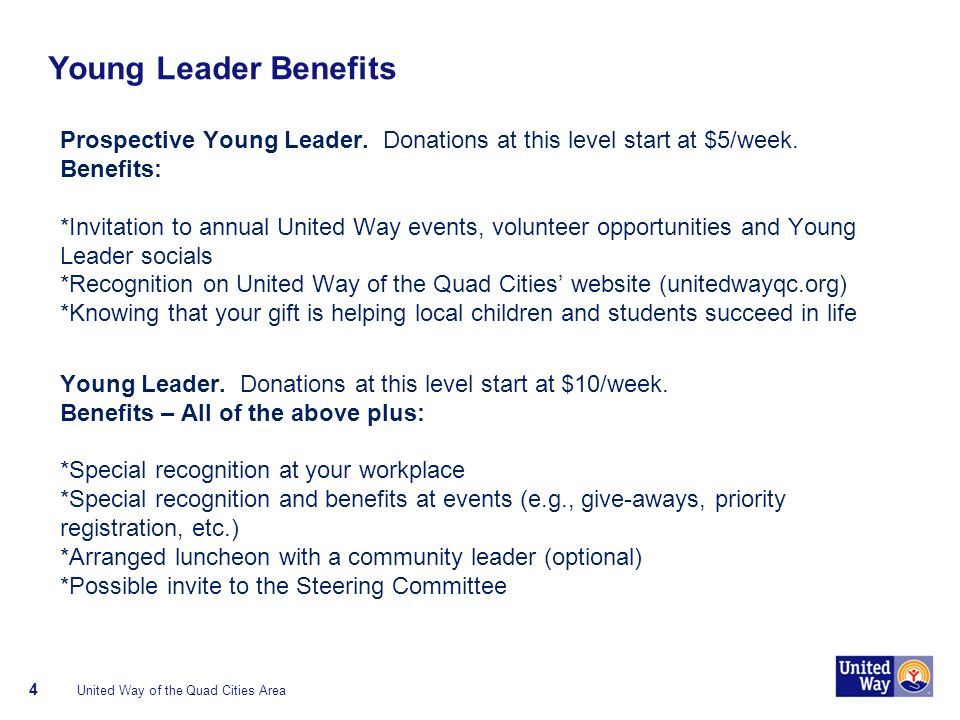 Young Leader Benefits Prospective Young Leader. Donations at this level start at $5/week.