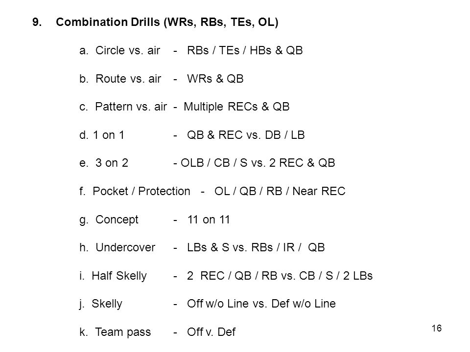 9.Combination Drills (WRs, RBs, TEs, OL) a. Circle vs.