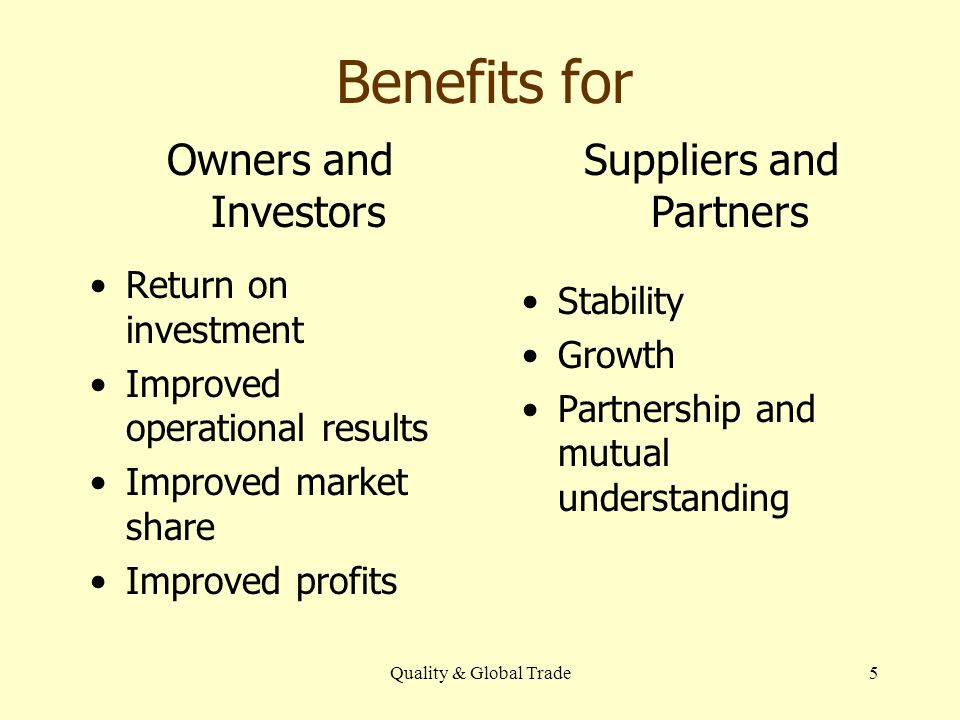 Quality & Global Trade5 Benefits for Return on investment Improved operational results Improved market share Improved profits Stability Growth Partnership and mutual understanding Owners and Investors Suppliers and Partners