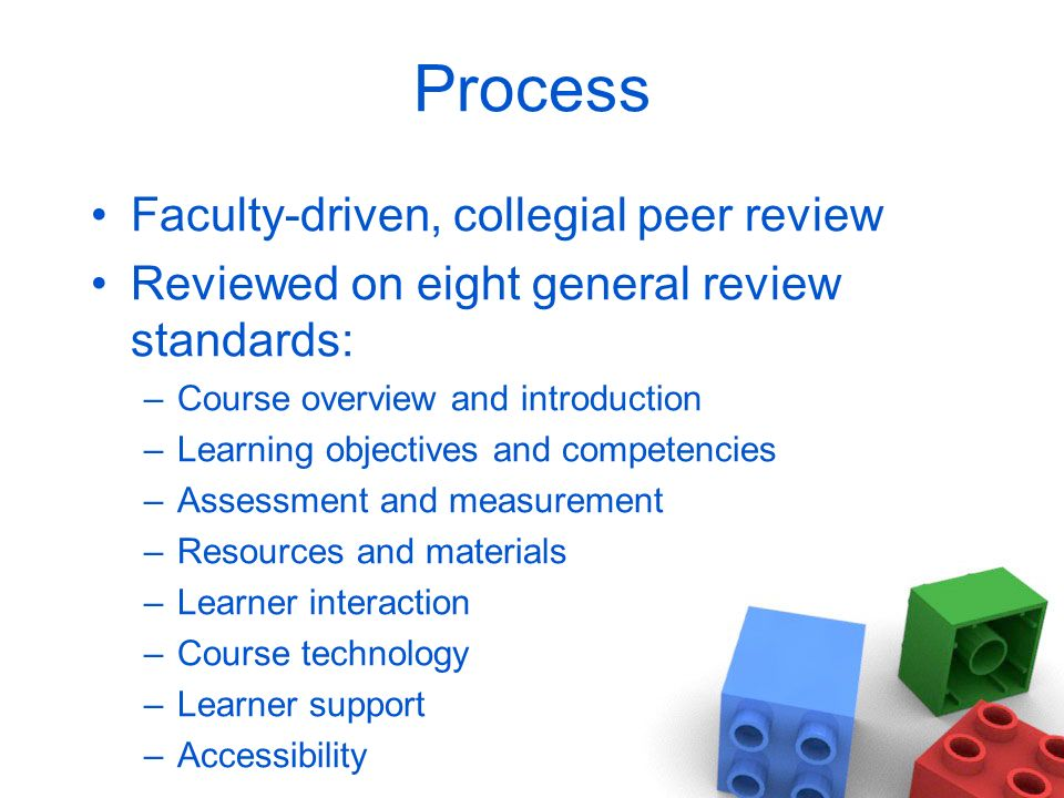 Process Faculty-driven, collegial peer review Reviewed on eight general review standards: –Course overview and introduction –Learning objectives and competencies –Assessment and measurement –Resources and materials –Learner interaction –Course technology –Learner support –Accessibility