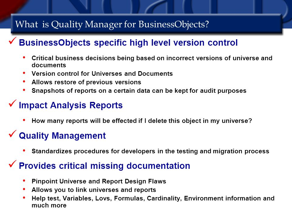 What is Quality Manager for BusinessObjects.