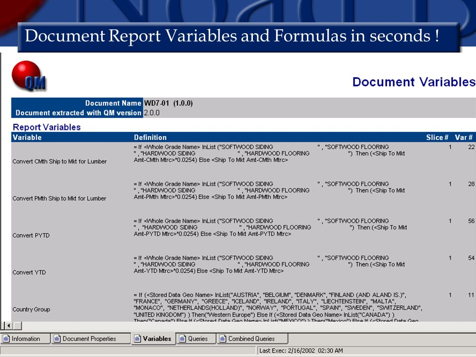 Document Report Variables and Formulas in seconds !