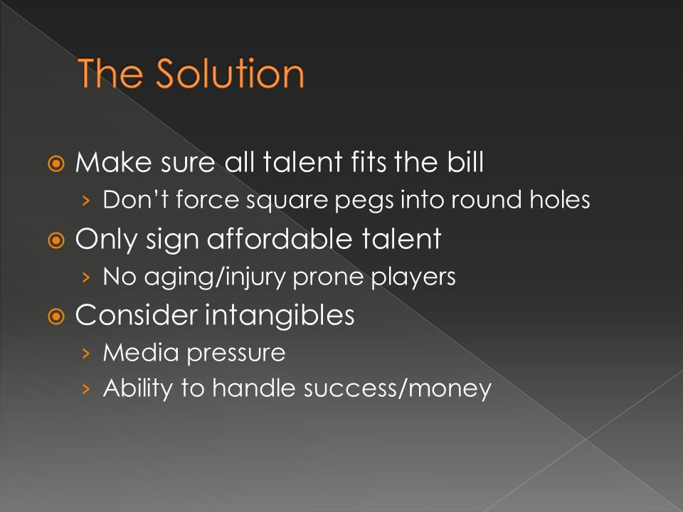 Make sure all talent fits the bill Dont force square pegs into round holes Only sign affordable talent No aging/injury prone players Consider intangibles Media pressure Ability to handle success/money