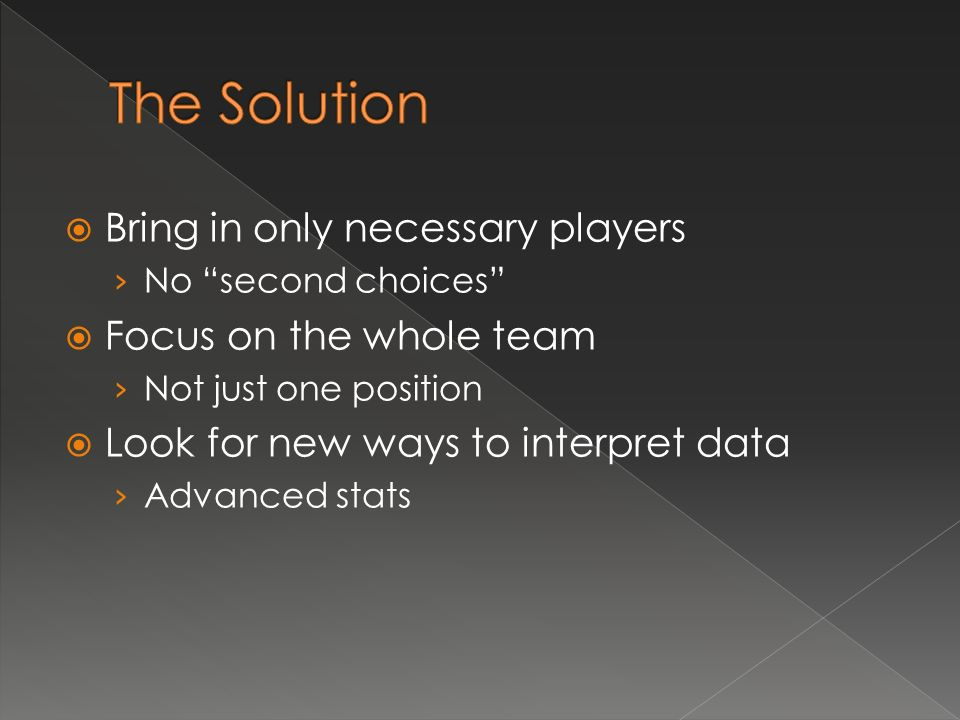 Bring in only necessary players No second choices Focus on the whole team Not just one position Look for new ways to interpret data Advanced stats