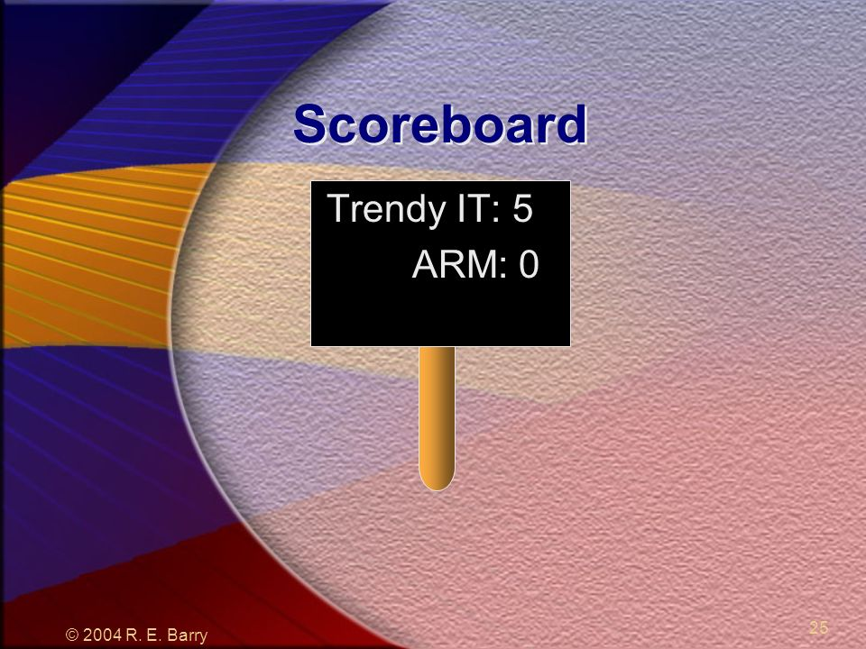© 2004 R. E. Barry 25 Scoreboard Trendy IT: 5 ARM: 0
