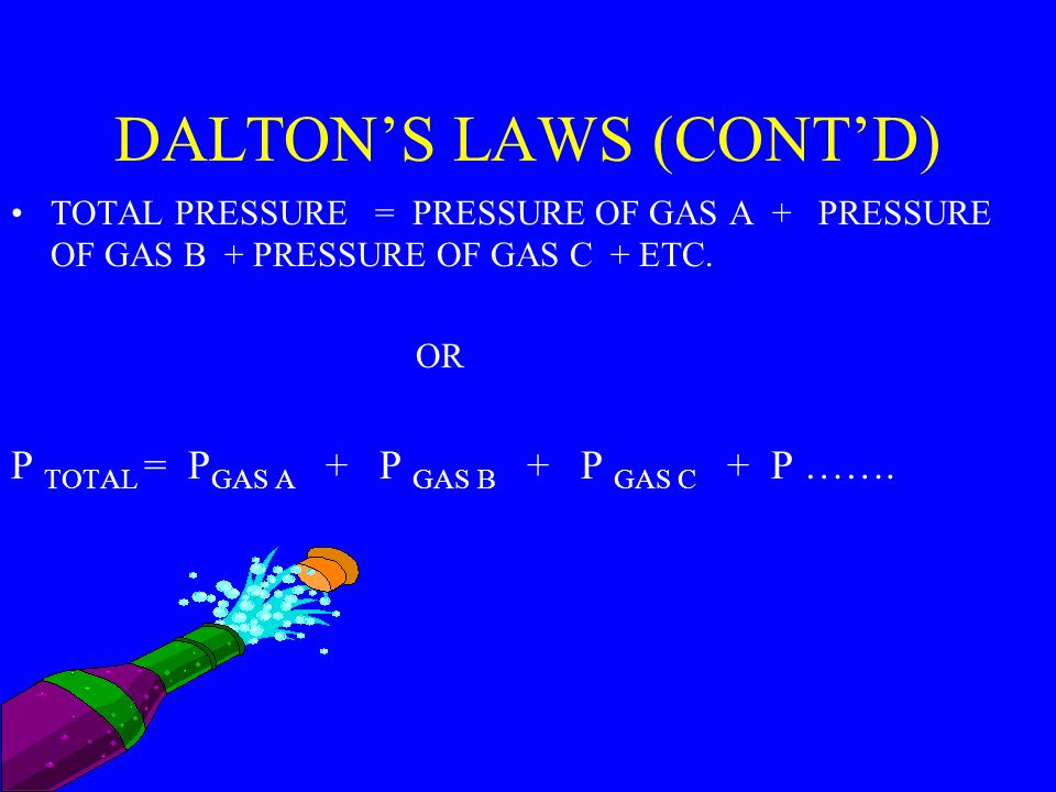 DALTONS LAW DEALS WITH THE PARTIAL PRESSURE OF GASES.