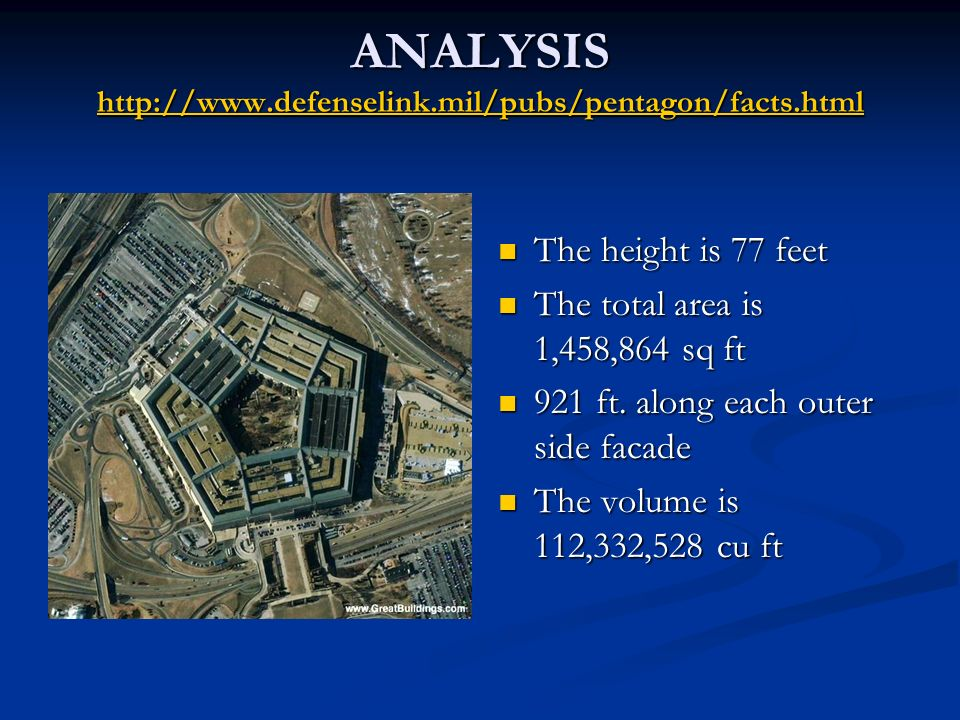 ANALYSIS     The height is 77 feet The total area is 1,458,864 sq ft 921 ft.