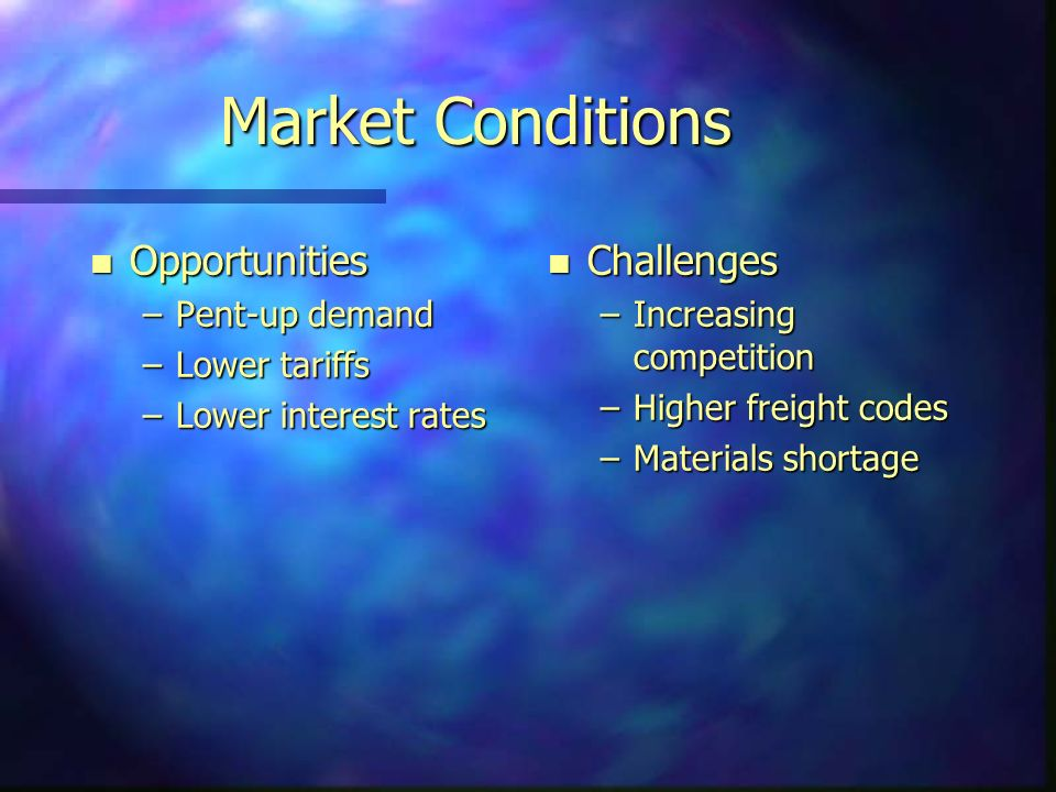 Market Conditions n Opportunities –Pent-up demand –Lower tariffs –Lower interest rates n Challenges –Increasing competition –Higher freight codes –Materials shortage
