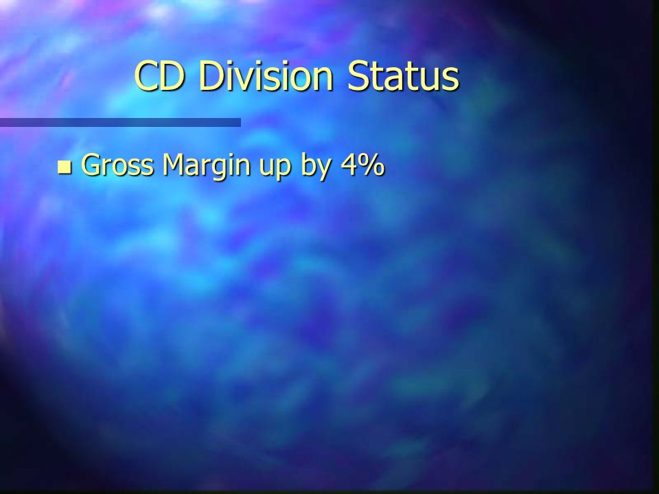 CD Division Status n Gross Margin up by 4%