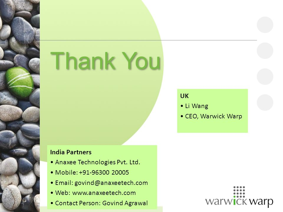 Confidential Thank You India Partners Anaxee Technologies Pvt.