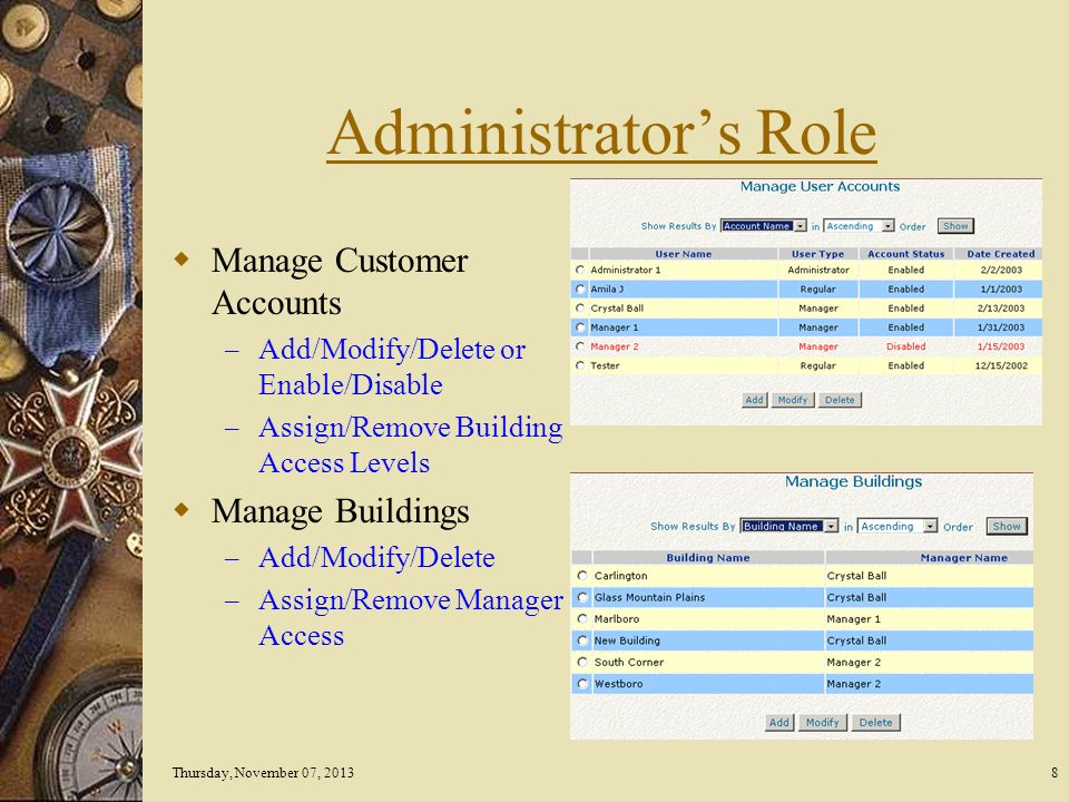Thursday, November 07, 20138 Administrators Role Manage Customer Accounts – Add/Modify/Delete or Enable/Disable – Assign/Remove Building Access Levels Manage Buildings – Add/Modify/Delete – Assign/Remove Manager Access