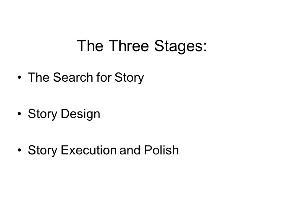 The Three Stages: The Search for Story Story Design Story Execution and Polish