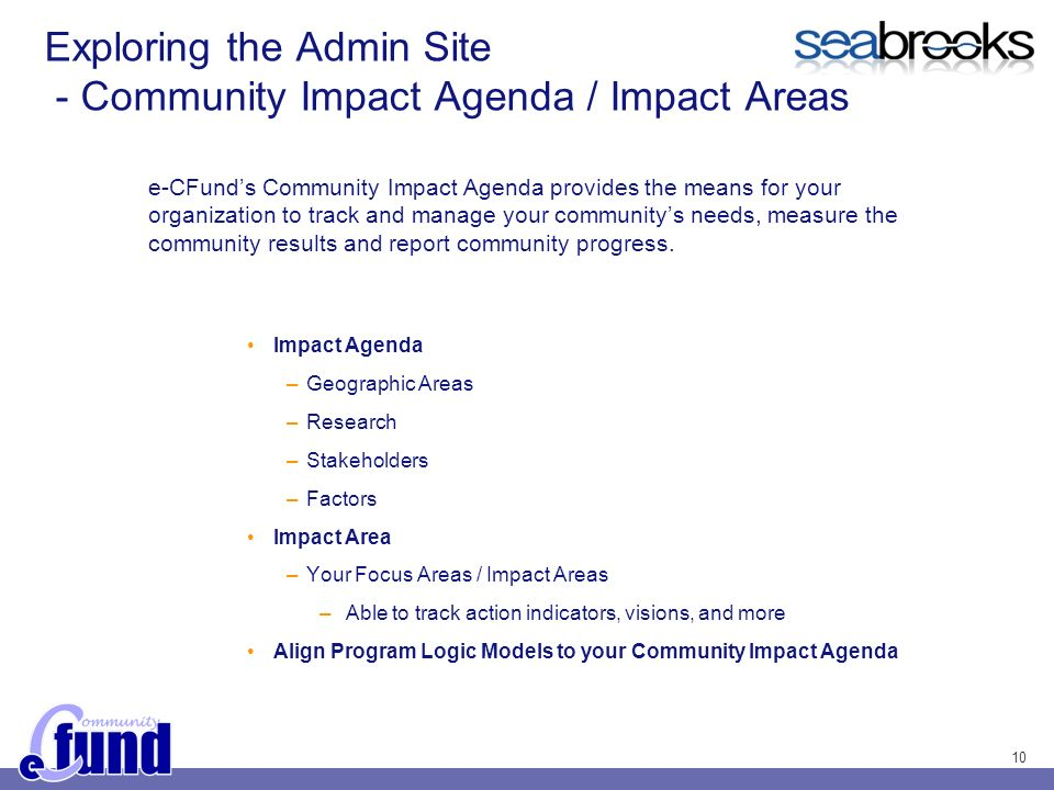 10 Exploring the Admin Site - Community Impact Agenda / Impact Areas Impact Agenda –Geographic Areas –Research –Stakeholders –Factors Impact Area –Your Focus Areas / Impact Areas –Able to track action indicators, visions, and more Align Program Logic Models to your Community Impact Agenda e-CFunds Community Impact Agenda provides the means for your organization to track and manage your communitys needs, measure the community results and report community progress.