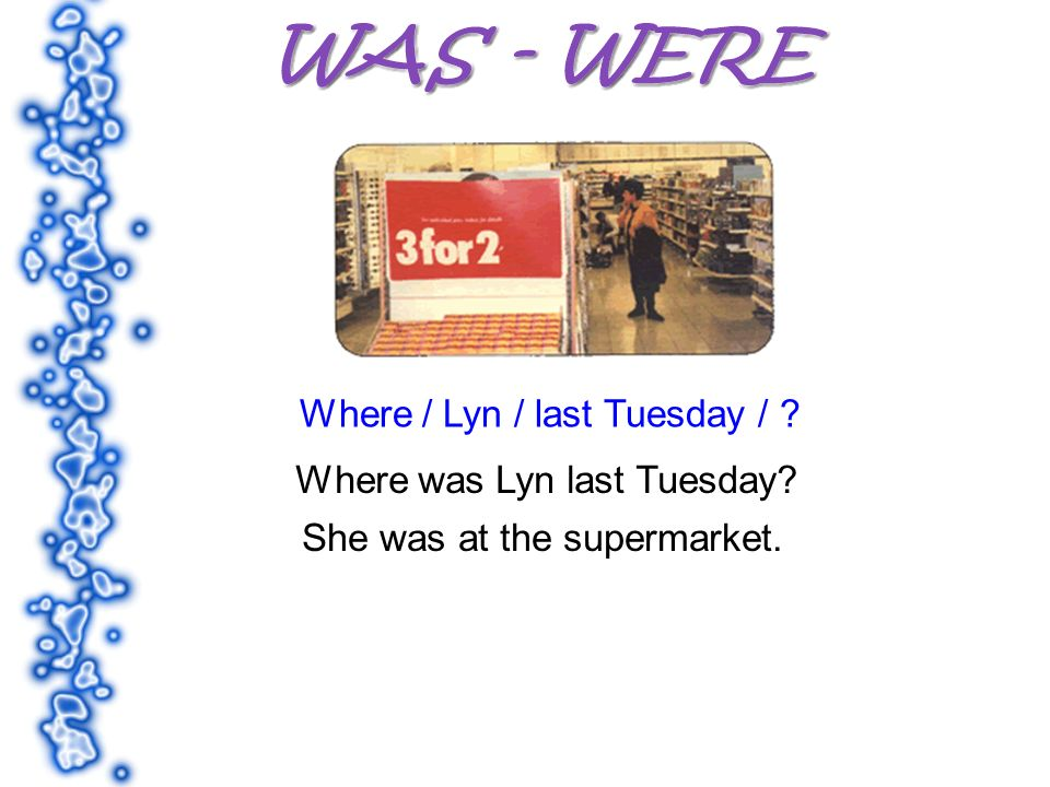 Where / Lyn / last Tuesday / Where was Lyn last Tuesday She was at the supermarket.