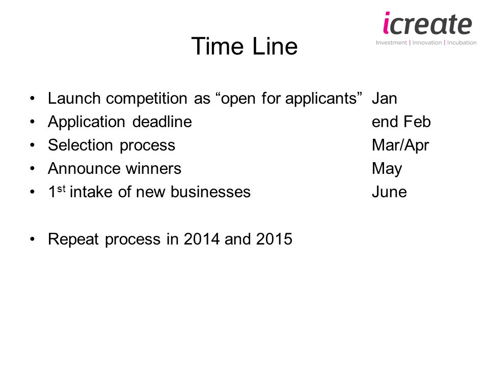 Time Line Launch competition as open for applicantsJan Application deadlineend Feb Selection processMar/Apr Announce winnersMay 1 st intake of new businessesJune Repeat process in 2014 and 2015