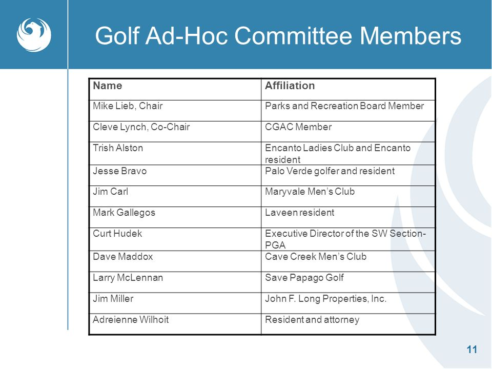 11 Golf Ad-Hoc Committee Members NameAffiliation Mike Lieb, ChairParks and Recreation Board Member Cleve Lynch, Co-ChairCGAC Member Trish AlstonEncanto Ladies Club and Encanto resident Jesse BravoPalo Verde golfer and resident Jim CarlMaryvale Mens Club Mark GallegosLaveen resident Curt HudekExecutive Director of the SW Section- PGA Dave MaddoxCave Creek Mens Club Larry McLennanSave Papago Golf Jim MillerJohn F.
