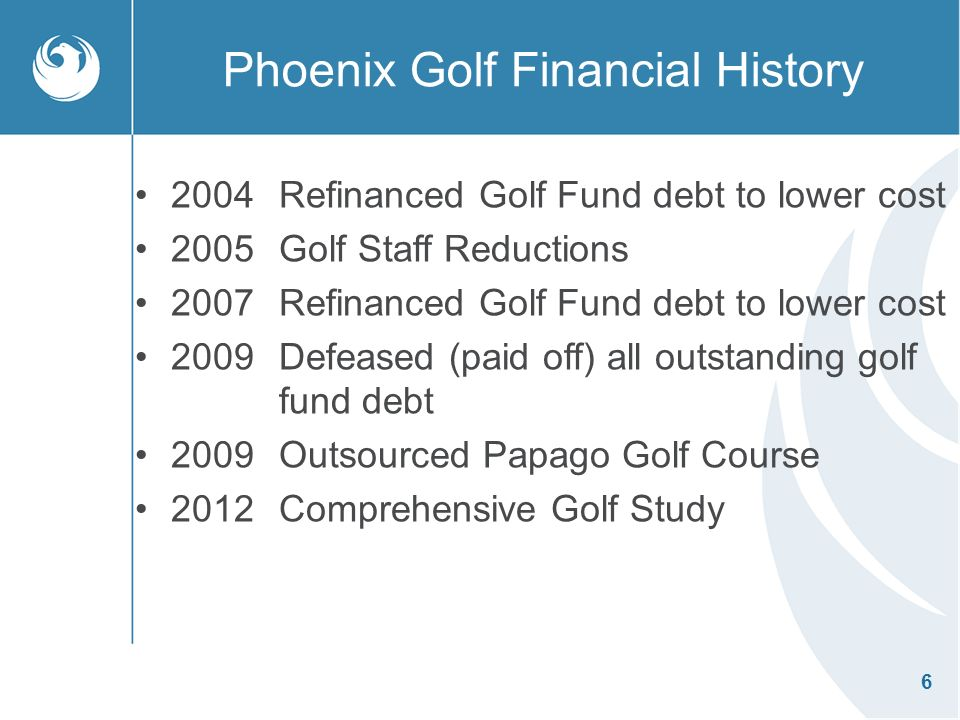 6 Phoenix Golf Financial History 2004 Refinanced Golf Fund debt to lower cost 2005Golf Staff Reductions 2007Refinanced Golf Fund debt to lower cost 2009Defeased (paid off) all outstanding golf fund debt 2009Outsourced Papago Golf Course 2012Comprehensive Golf Study