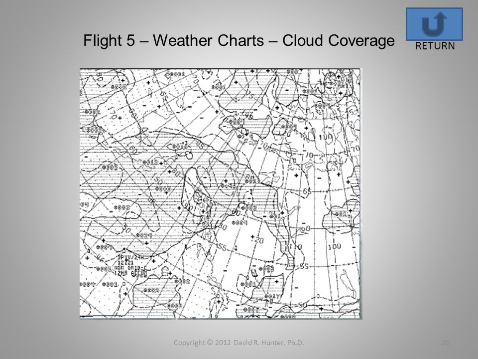 Flight 5 – Weather Charts – Cloud Coverage Copyright © 2012 David R. Hunter, Ph.D.20 RETURN