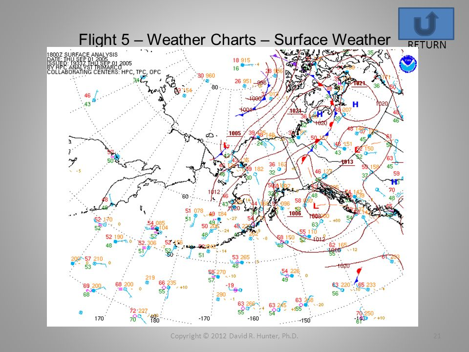 Flight 5 – Weather Charts – Surface Weather Copyright © 2012 David R. Hunter, Ph.D.21 RETURN