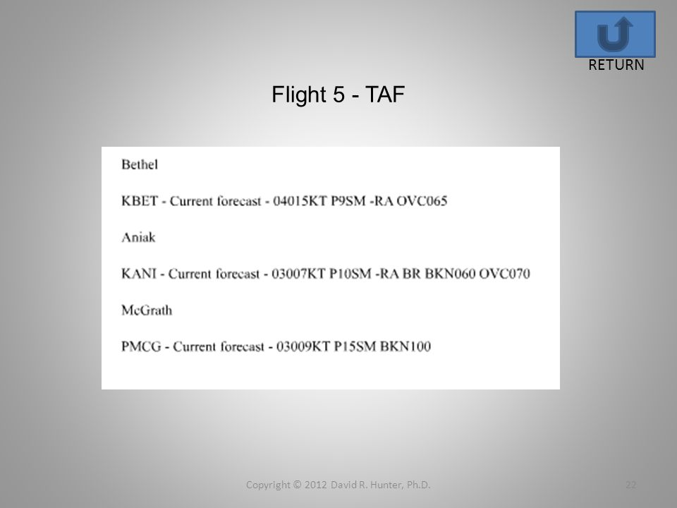 Flight 5 - TAF Copyright © 2012 David R. Hunter, Ph.D.22 RETURN
